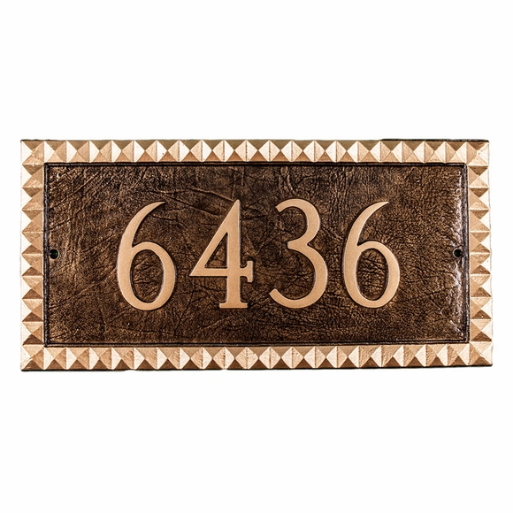House Number Sign with Pyramid Style Border For Wall or Optional Lawn Stake Mount