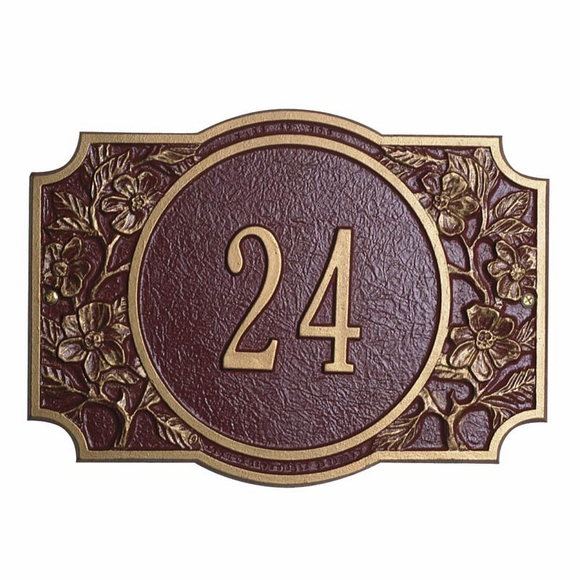 House Address Number Sign with Flower Border