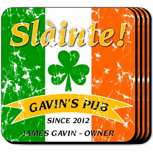 Personalized Irish Slainte Coaster Set