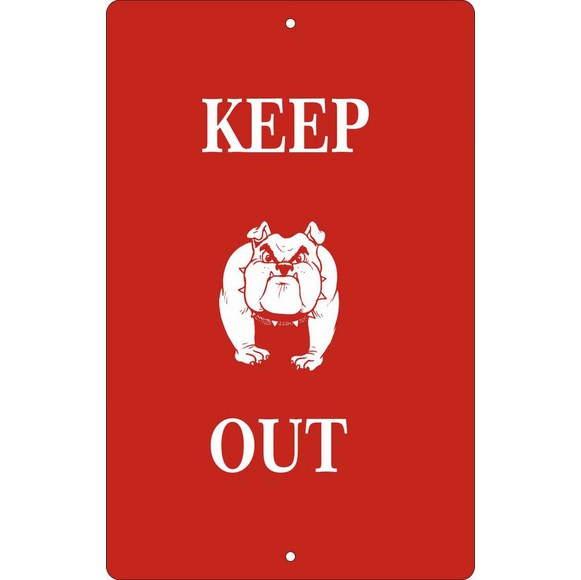 Custom Warning Sign With Bulldog - Keep Out, Private Property, Beware of Dog, Or Other Wording