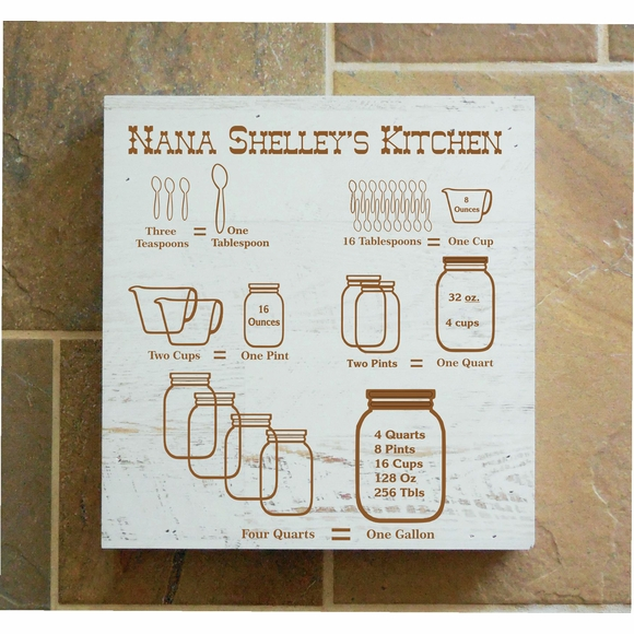 Personalized Kitchen Measurements Wall Box For Chef or Anyone Who Loves To Cook - Hanging Art or Tabletop Display