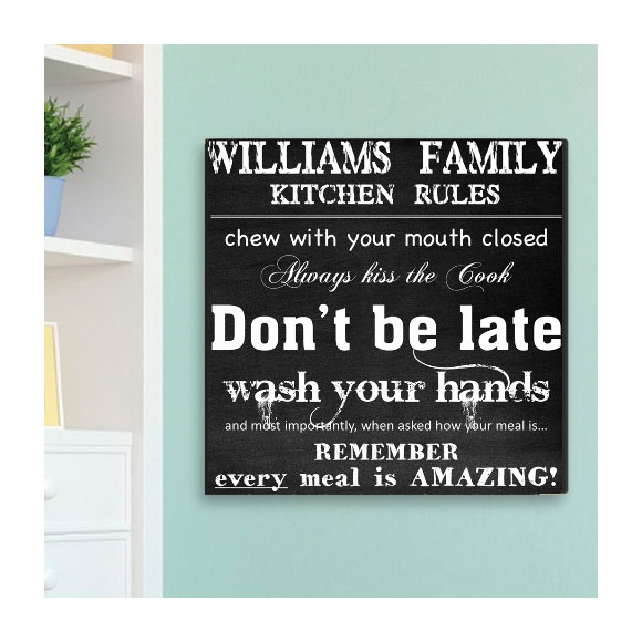 Personalized Kitchen Rules Canvas Print Wall Art
