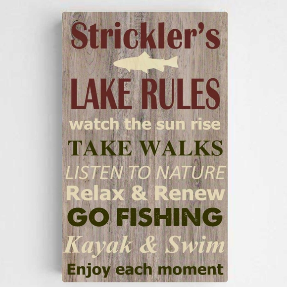 Personalized Lake Rules Canvas Print