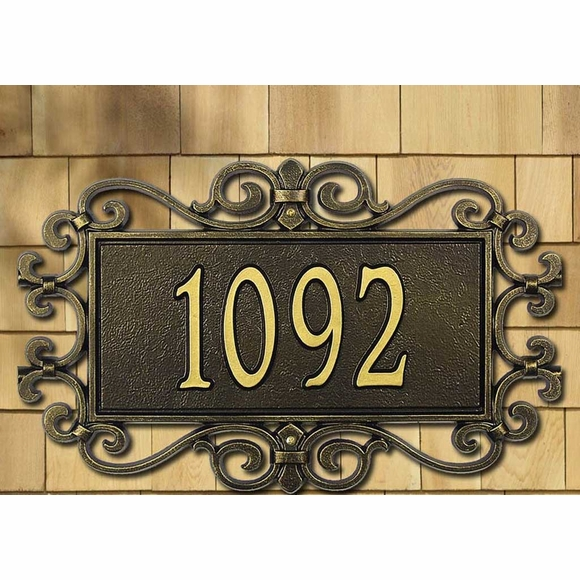 Personalized Large Address Plaque with Decorative Fretwork Scroll Frame