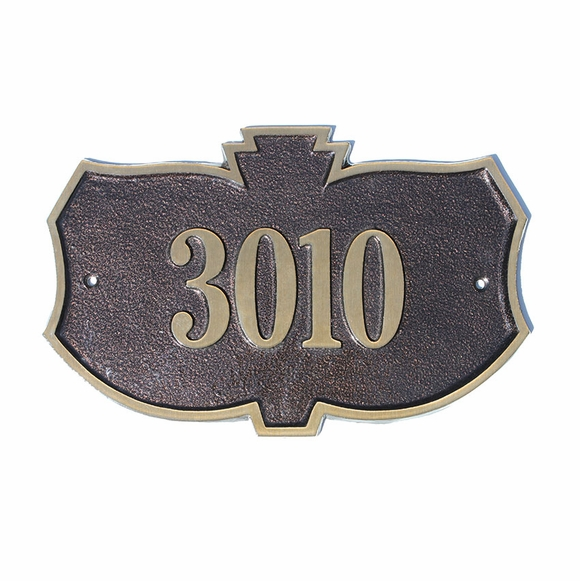 Cast Brass Address Sign Leaf Shape