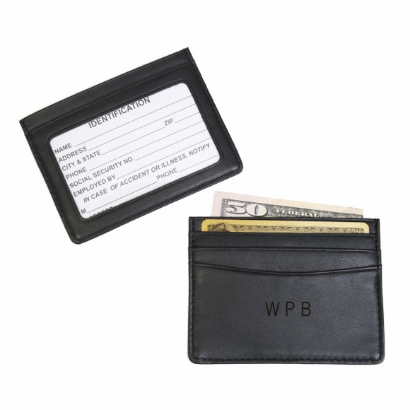 Personalized Leather Mini Credit Card Holder