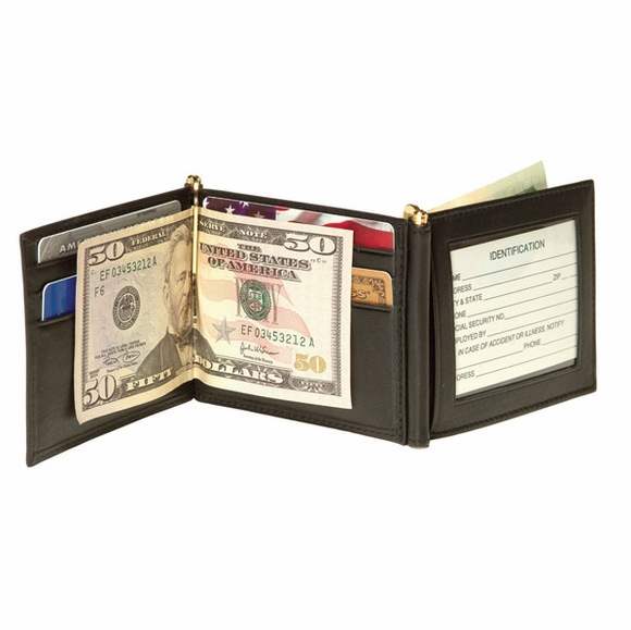 Personalized Leather Money Clip Wallet With Monogram or Name