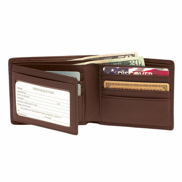 Personalized Leather RFID Shield Men's Bi-fold Wallet Monogrammed With Initials or Name