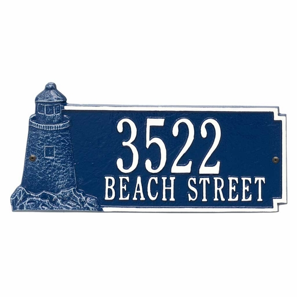 Personalized Lighthouse Address Sign - Custom House Number Plaque