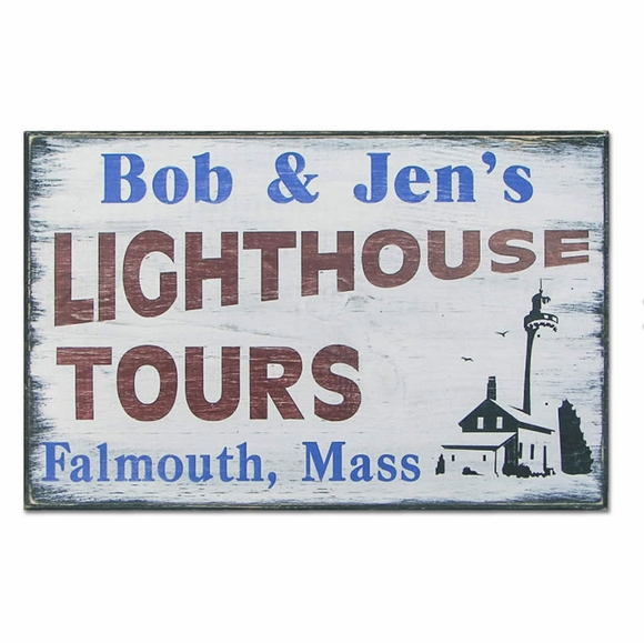 Personalized Lighthouse Tours Sign
