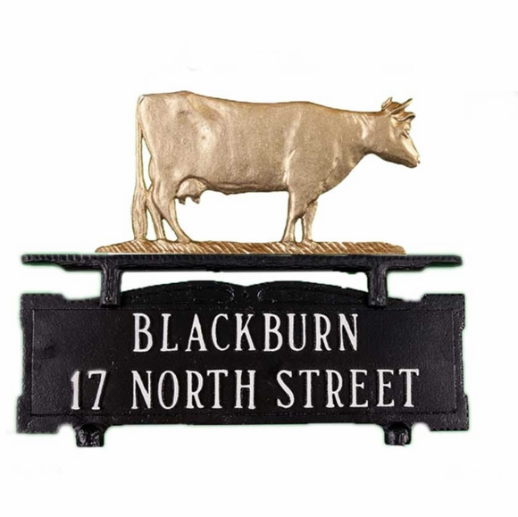 Mailbox Topper Address Sign with Cow Ornament