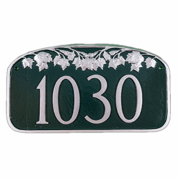 Address Sign With Maple Leaf Decoration - Tree Theme Custom Address Plaque - Choose Your Color