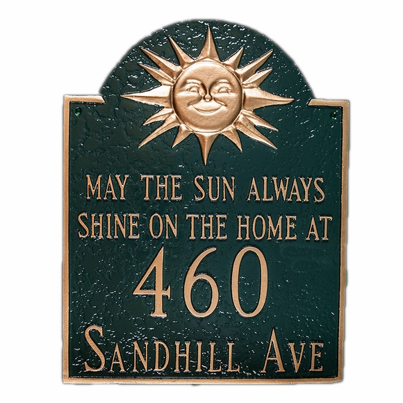 May The Sun Always Shine On The Home At House Number And Street Name Sign - Address Plaque