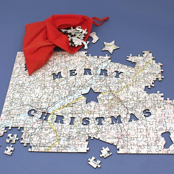 Personalized Merry Christmas Jigsaw Puzzle Map
