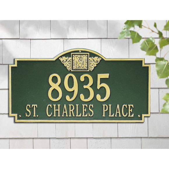 Monogram Address Sign - Large Wall or Lawn Plaque With Initial On Top