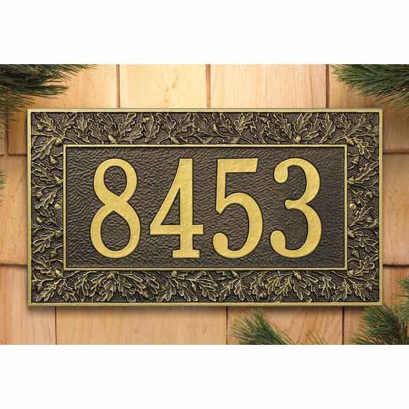 Address Plaque With Decorative Oak Leaf Border - Choose Your Color