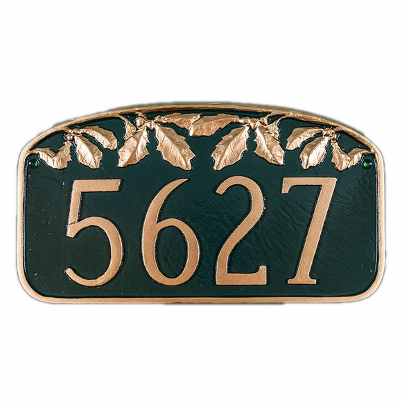Address Plaque With Oak Leaf - Custom House Number Sign - For Wall or Lawn Mount