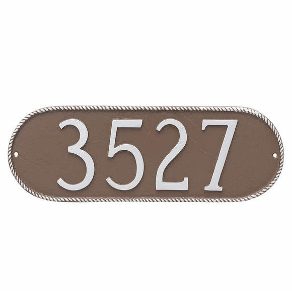 Oblong Street Number Plaque with Rope Border