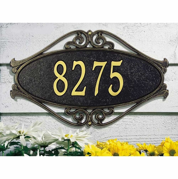 Oval Fretwork Address Plaque - Decorative Scrollwork House Number Sign