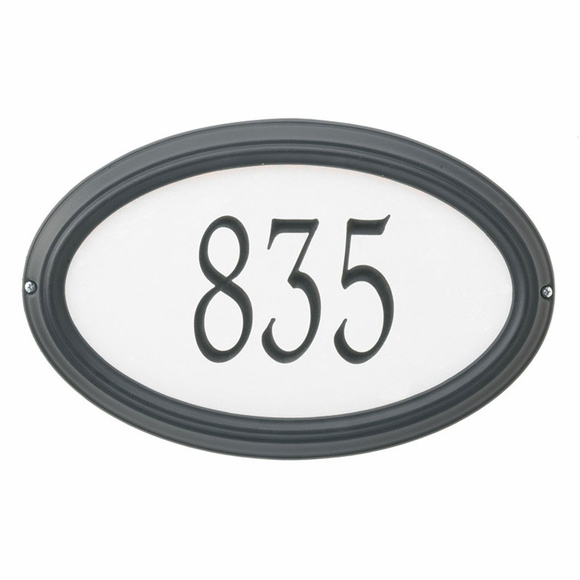 Reflective House Number Sign - Personalized Oval Address Plaque For Wall or Optional Lawn Mount