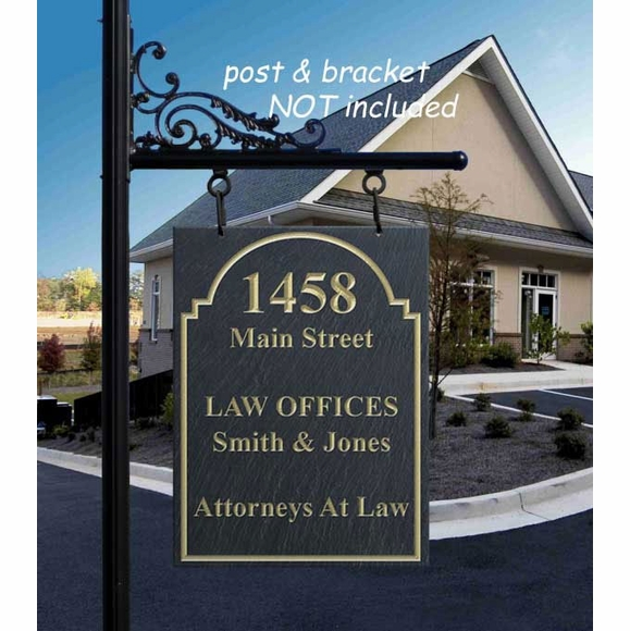 Professional Hanging Address Sign - Oversized Stone Plaque
