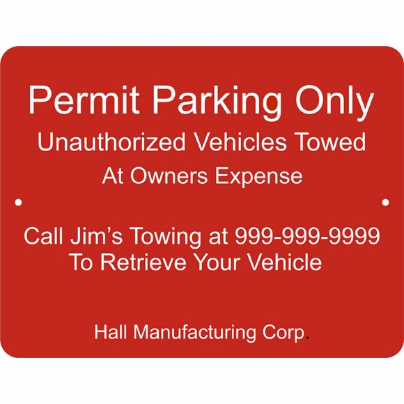 Custom Permit Parking Only Sign