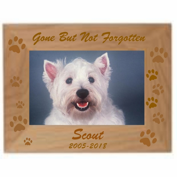 Personalized Pet Memorial Picture Frame - Custom Engraved Photo Frame for Dog, Cat, or Other Favorite Pet