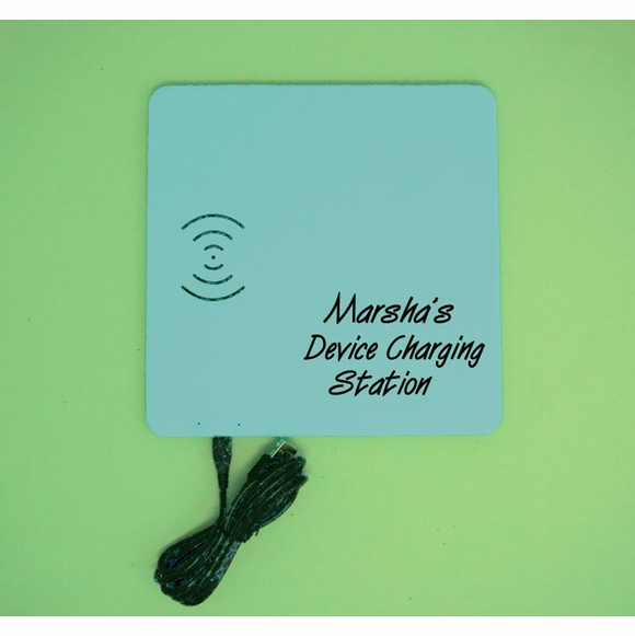 Personalized Phone Charging Mat for iPhone or Android with Wireless Charging Capability
