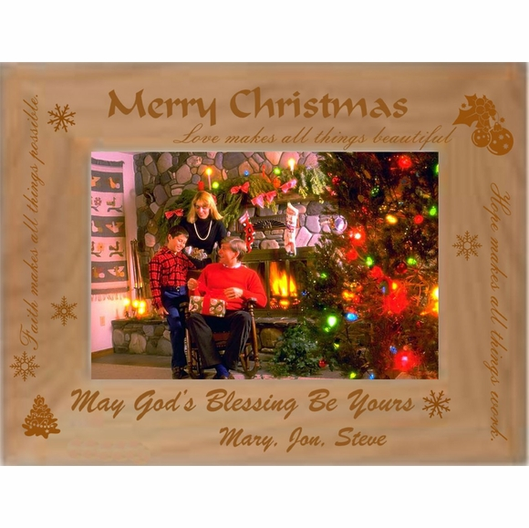 Personalized Custom Engraved Picture Frame for Christmas Photo