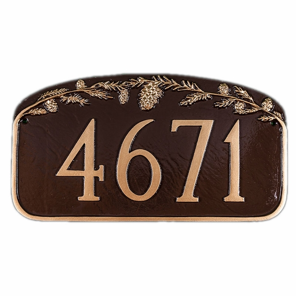 Address Sign With Pine Cones - Nature Theme Custom Address Plaque