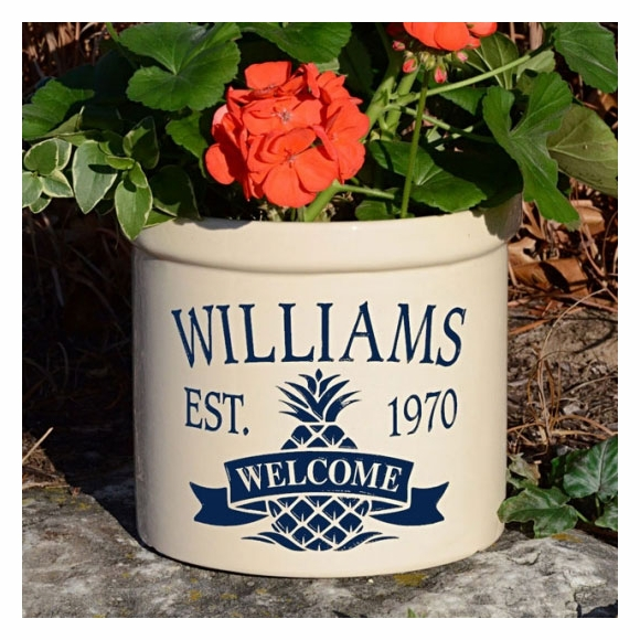 Personalized Welcome Crock With Established Date and Pineapple - Stoneware Planting Pot