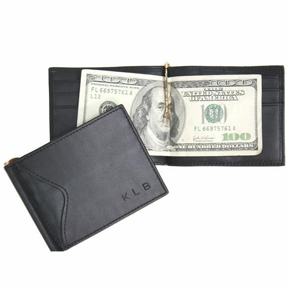 Personalized RFID Blocking Cash Clip Wallet Monogrammed With Name or Initials