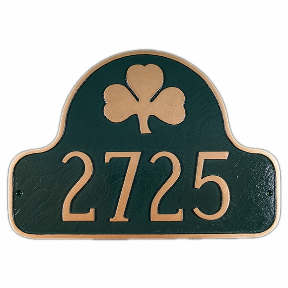 Address Plaque With Shamrock In Arch - For Wall Mount or Optional Lawn Stake Mount