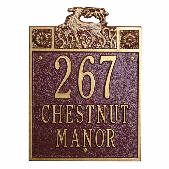 Address Plaque With Deer - Stag House Number Sign
