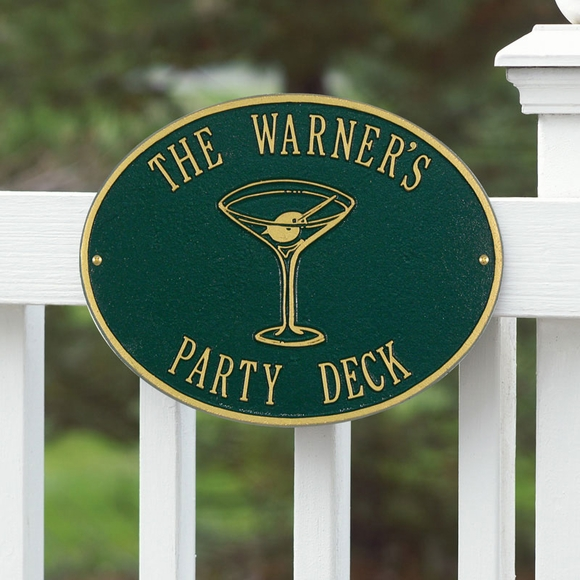 Personalized Sign with Martini Glass - Custom Metal Plaque