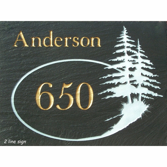 Slate Address Sign with Evergreen Tree