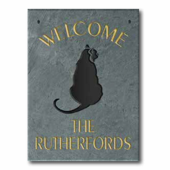 Personalized Slate Welcome Sign with Cat