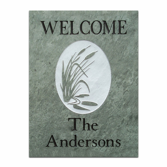 Personalized Slate Welcome Sign with Cattails