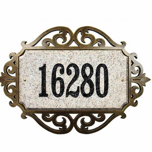 Personalized Solid Granite Address Plaque with Scroll Frame
