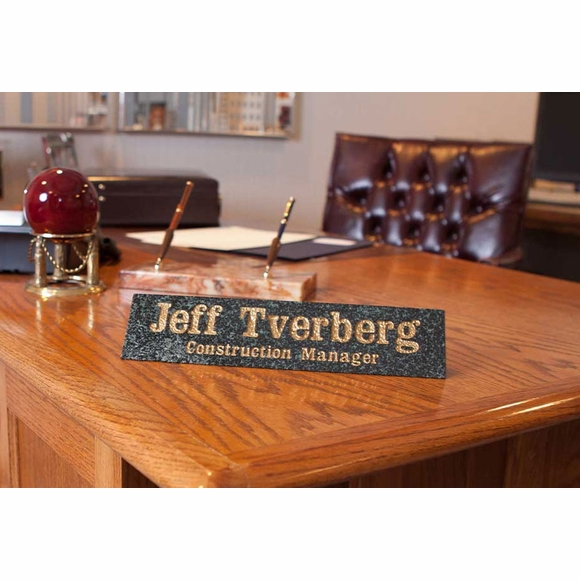Personalized Solid Granite Desk Name Plaque