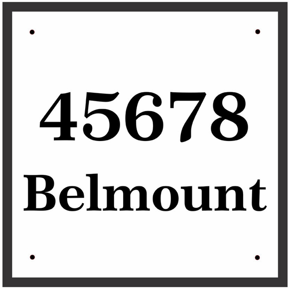Square House Number Sign With Street, Family or Business Name