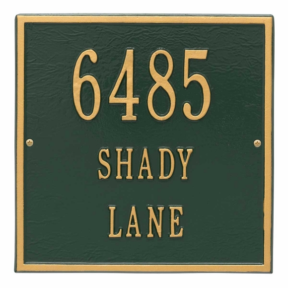 Square Address Plaque With 3 Lines