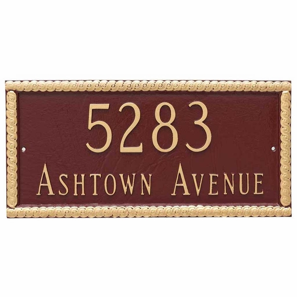 Personalized 2 Line Home Address Plaque - Custom House Number Sign With Decorative Border