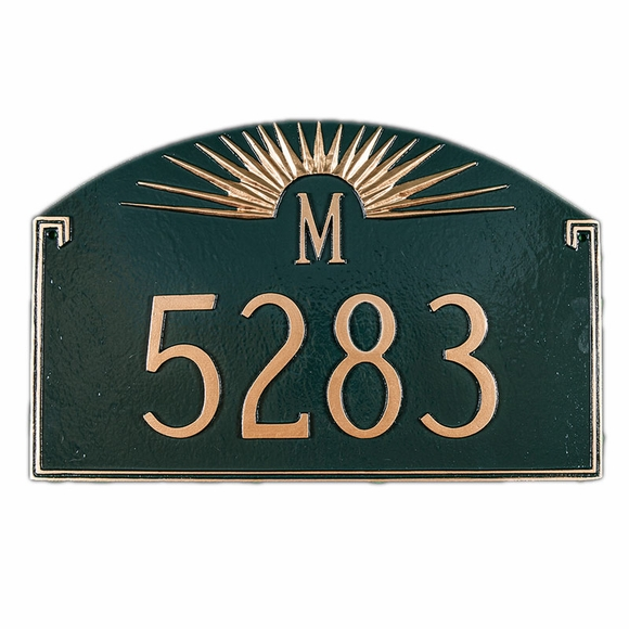 Personalized Sunray Address Plaque With Initial Letter Monogram