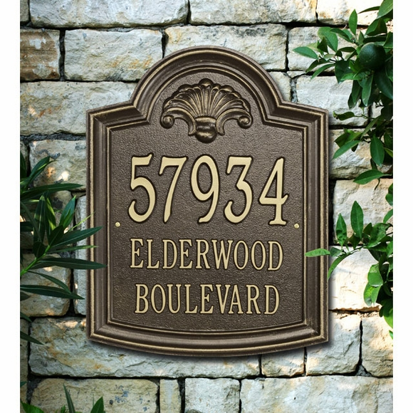 Arch Address Sign With Shell - For Wall or Optional Lawn Mount - Displays 3 Lines