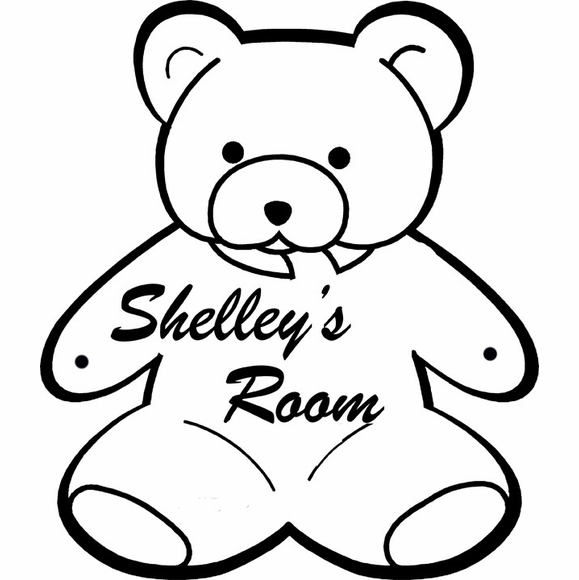 Teddy Bear Sign Personalized Wall Art - Name Plaque For Child's Room Door