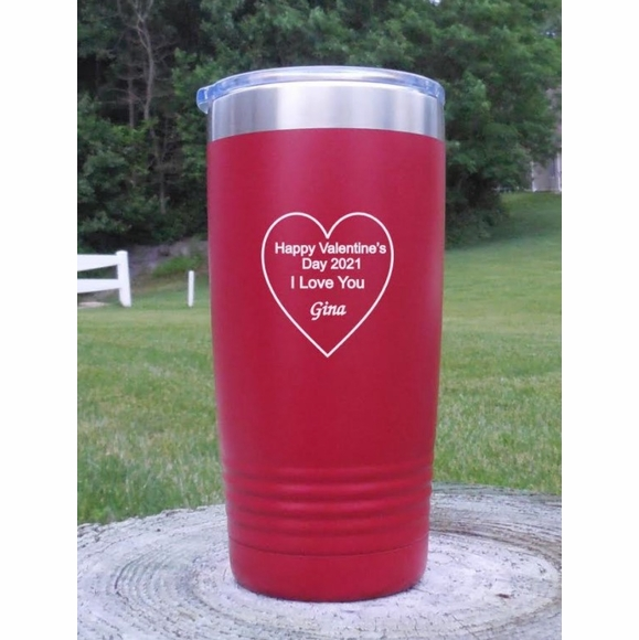 Personalized Tumbler Vacuum Insulated With Heart - Valentine's Day Gift, Romantic Gift, I Love You