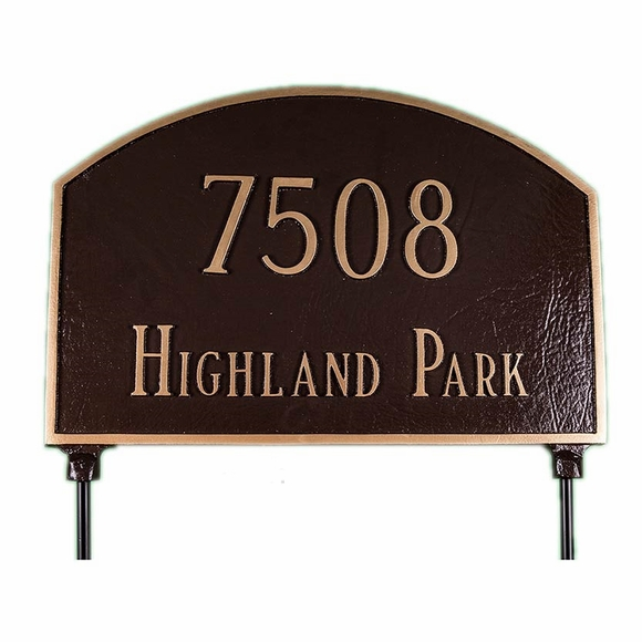 Two Sided Arch Lawn Address Sign - Address On Both Sides