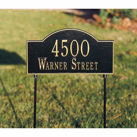 Personalized Two-Sided Arch Lawn Marker - Double Sided Metal Address Plaque With Stakes