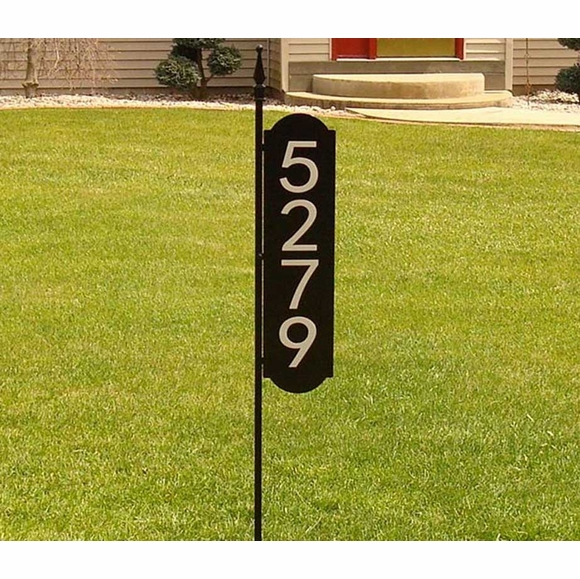 Two Sided Reflective House Address Number Yard Marker With Long Post